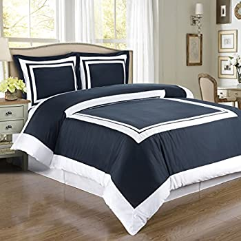 Deluxe Reversible Hotel Duvet Cover Set, 100% Cotton 300 Thread Count Bedding, woven with superior single-ply yarn. 3 piece Full / Queen Size Duvet Cover Set, Navy and White