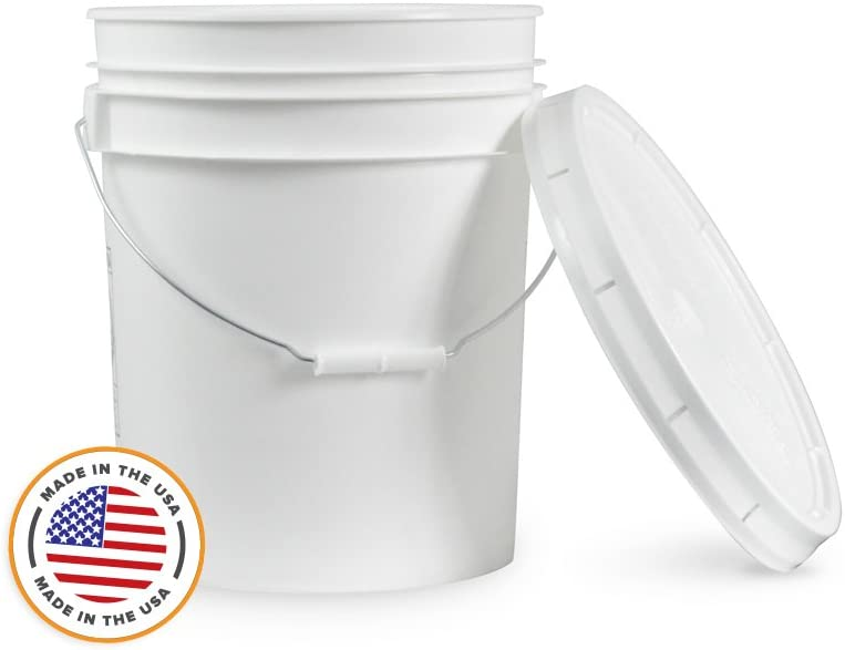 5 Gallon White Bucket & Lid - Set of 1 - Durable 90 Mil All Purpose Pail - Food Grade - Plastic Container