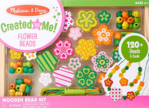 Melissa & Doug Flower Power Wooden Bead Set With 150+ Beads and 5 Cords for Jewelry-Making ()