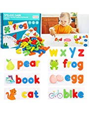 See and Spell Learning Toys Montessori Preschool Educational Toys Words Cards & Matching Letter Puzzles Games with 28 Flash Cards and 52 Wooden Alphabet Blocks for Kids 3+ Years Old