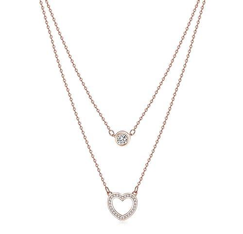 3a17ad04068f68 Wonvin donna gioielli doppio strato cuore ciondolo collana, 925 Sterling  Silver 18K Rose oro placcato