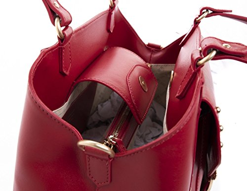 Red Pinko rosso Women Avossa Mushroom Top Jolly Handle Vitello Handbags rrP08xq