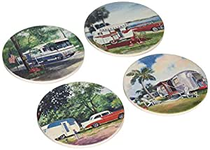 """CoasterStone AS1225 Absorbent Coasters, 4-1/4-Inch, """"Vintage Trailers II"""", Set of 4"""