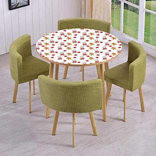 iPrint Round Table/Wall/Floor Decal Strikers,Removable,Candy Cane with Bowties Red Star Figures Gingerbread Man Pattern,for Living Room,Kitchens,Office Decoration -