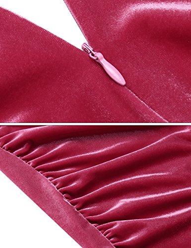 Angvns Femmes Sexy Cou Moulante À Manches Longues Voff Épaule Mini Robe Club Mince Rose Rouge