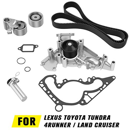 Timing Belt Water Pump kit for Toyota 4Runner 2003-2007, Tundra 2000-2009, Sequoia 2001-2009, Land Cruiser 1998-2007 | 1998-2009 Lexus GS400 LS400 SC400 GS430 LS430 SC430 GX470 ()
