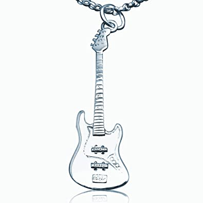 a738eaeb3 Solid Sterling Silver Mini Fender Jazz Bass Electric Guitar Necklace - 20  inch
