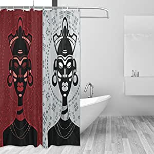 African art home decor shower curtain set by for Bathroom paintings amazon