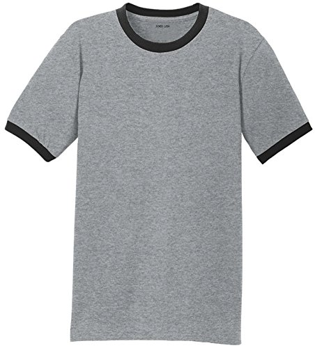 Joe's USA Mens Soft 5.4-Oz 100% Cotton Ringer T-Shirts-Ath.Grey/Black-L