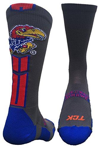 (TCK Sports Kansas Jayhawks Baseline 3.0 Crew Socks (Graphite/Crimson/Blue, Medium))