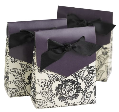 Hortense B. Hewitt Wedding Accessories 3-Inch Black and Eggplant Purple Floral Print Tent Favor Boxes, 25 Count