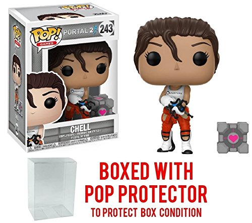 Funko Pop! Games: Portal 2 - Chell with Portal Gun Vinyl Figure (Bundled with Pop BOX PROTECTOR CASE) (Body Portal Gun P)