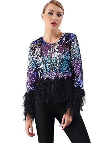 Miss Water Women-Sequin-Coat With Further,Glittering Fringe Zipper-Jacket L by Miss Water
