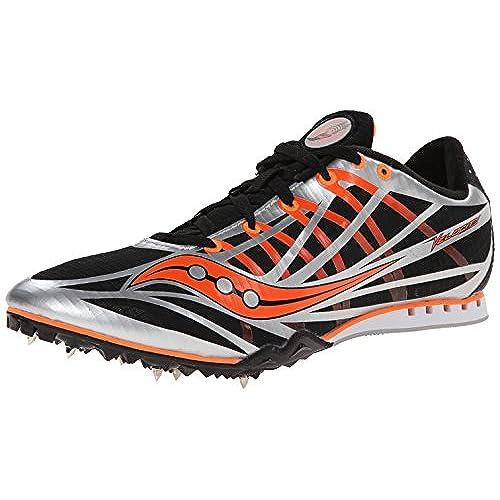 Saucony Men's Velocity Track Spike Racing Shoe, Silver/Black/Vizi Orange,  11.5 M US