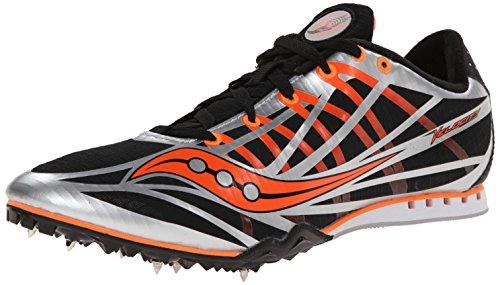 Saucony Men's Velocity Track Spike Racing Shoe, Silver/Black/Vizi Orange, 12 M US