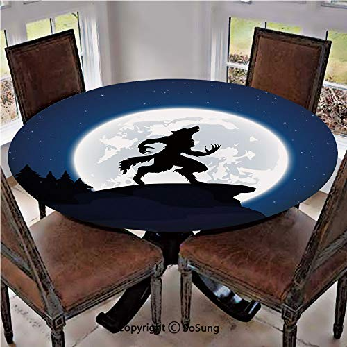 Elastic Edged Polyester Fitted Table Cover,Full Moon Night Sky Growling Werewolf Mythical Creature in Woods Halloween,Fits Tables up to 36