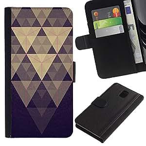KingStore / Leather Etui en cuir / Samsung Galaxy Note 3 III / Pirámide Modelo azul en colores pastel púrpura