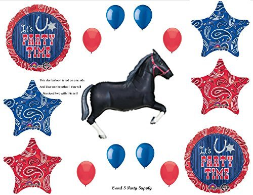 WESTERN HORSE BANDANA Birthday PARTY Hoedown Rodeo Balloons Decorations Supplies by -