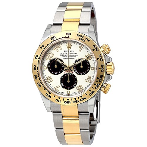(Rolex Oyster Perpetual Cosmograph Daytona 40mm Stainless Steel Case, 18K Gold Tachymeter Engraved Bezel, Ivory dial, black Subdials, Arabic Numerals, And Stainless Steel 18K Yellow Gold Bracelet.)