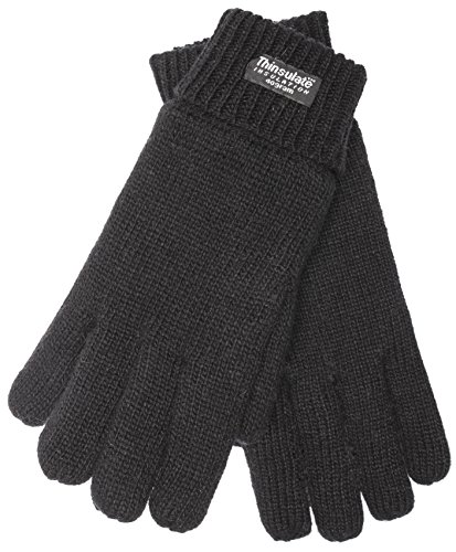 EEM Men's knitted glove LASSE with Thinsulate thermal lining, warm, 100% wool, winter, black XXL