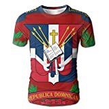 Coat Of Arms Dominican Republic Flag Polyester Funny Men's Crew Neck T-Shirt