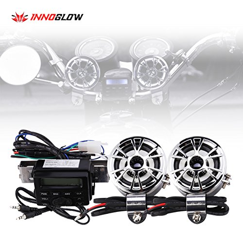 (Innoglow Motorcycle Audio Radio Handlebar Amplifier Stereo Speaker System FM MP3 2 Speakers for Honda VT Shadow Spirit Velorex Deluxe 600 750 1100)