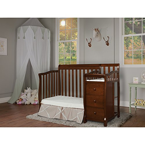 Dream On Me Jayden 4-in-1 Mini Convertible Crib And Changer in Espresso, Greenguard Gold Certified