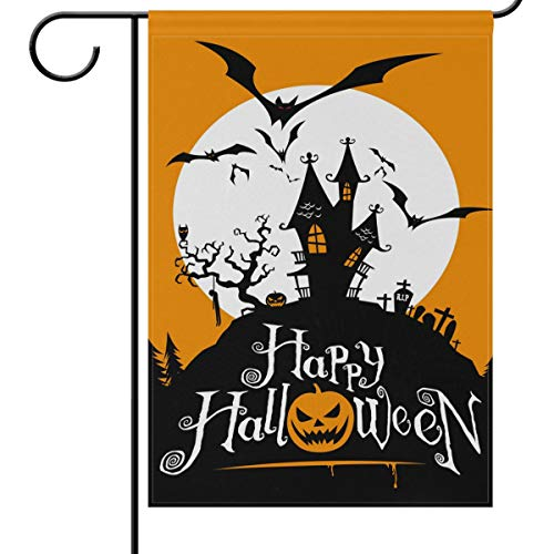 Wamika Halloween Garden Flags 12 x 18 Double Sided, Spooky Castle Grave Pumpkin Bat Funny Scary Welcome Autumn Fall Winter Holiday Outdoor Yard House Flags Banner for Party Home Decor]()