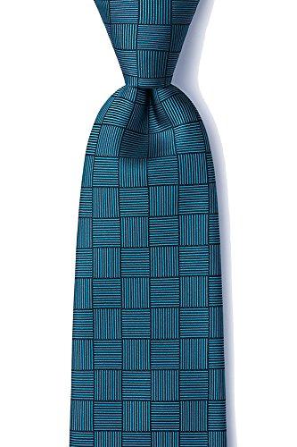 Men's 100% Silk Contemporary Checkered Hill XL Extra Long Tie Necktie Neckwear (Teal) (Silk Necktie Ready)