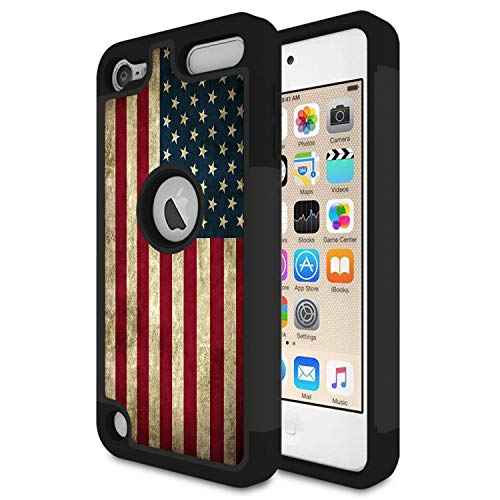 (iPod Touch 6 Case,iPod Touch 5 Case,Rossy Retro Vintage Old American USA Flag Design Shock-Absorption Hybrid Dual Layer Armor Defender Protective Case Cove for Apple iPod Touch 5 6th Generation)
