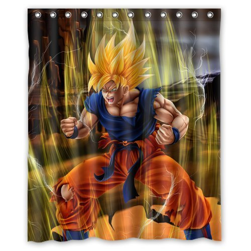 Japanese Anime Dragon Ball Z Goku Super Saiyan Custom Design Shower Curtain Personalized Bath Curtain 60 * 72
