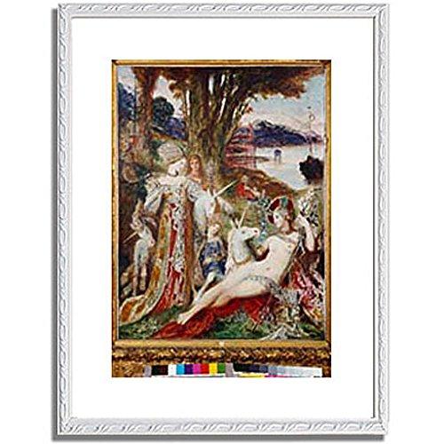 ギュスターヴモロー「The Unicorns. About 1885 」 インテリア アート 絵画 プリント 額装作品 フレーム:装飾(白) サイズ:M (306mm X 397mm) B00NKRSHZU 2.M (306mm X 397mm)|6.フレーム:装飾(白) 6.フレーム:装飾(白) 2.M (306mm X 397mm)
