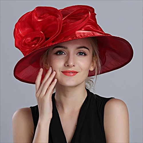Red Moda Big Sombrero Mujer Red Hqq color Para Cap Hat Vestido Banquete Visor Británico Verano Flores Estilo Brim Bowler CqOxfU