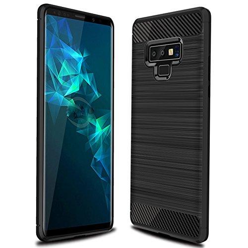 Galaxy Note 9 case, MAIKEZI Soft TPU Brushed Anti-Fingerprint Full-Body Protective Phone Case Cover for Samsung Galaxy Note9 N960U 2018 (Black Brushed TPU)