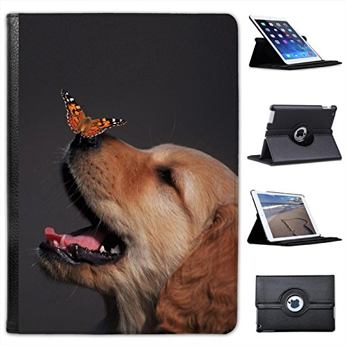 Golden Retriever with Butterfly on his Nose for Apple iPad Air 2 [2014 Version] Faux Leather Folio Presenter Case Cover Bag with Stand Capability