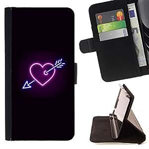 Momo Phone Case / Flip Funda de Cuero Case Cover - Corazón de neón Negro Heartbreak Regístrate fresca - Samsung Galaxy J3 GSM-J300