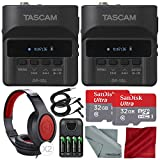 Tascam DR-10L Portable Digital Studio Recorder W/Lavalier Microphone, 32GB Card Headphones 2-Pack Deluxe Bundle