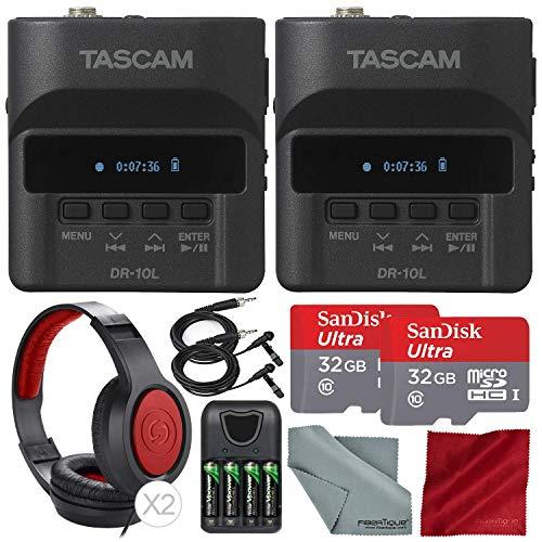 Tascam DR-10L Portable Digital Studio Recorder W/Lavalier Microphone, 32GB Card Headphones 2-Pack Deluxe Bundle by Tascam (Image #5)