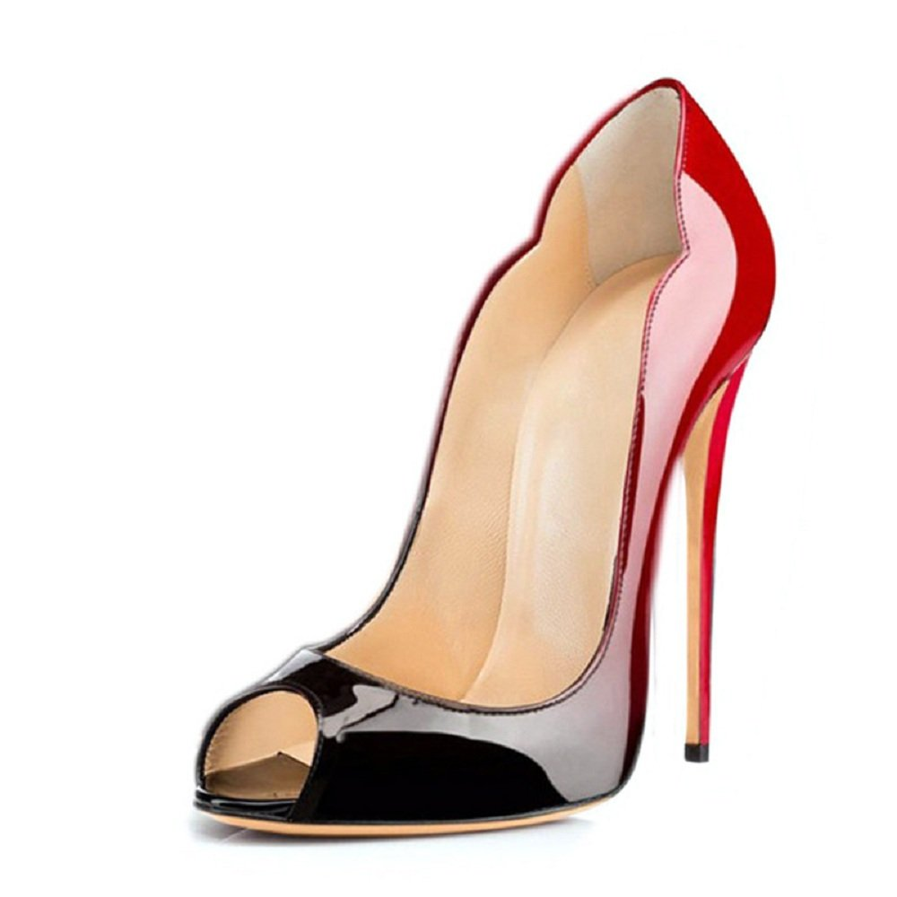 Emiki - Zapatos de tacón con punta cerrada Mujer EU46=29.5cm rojo y negro