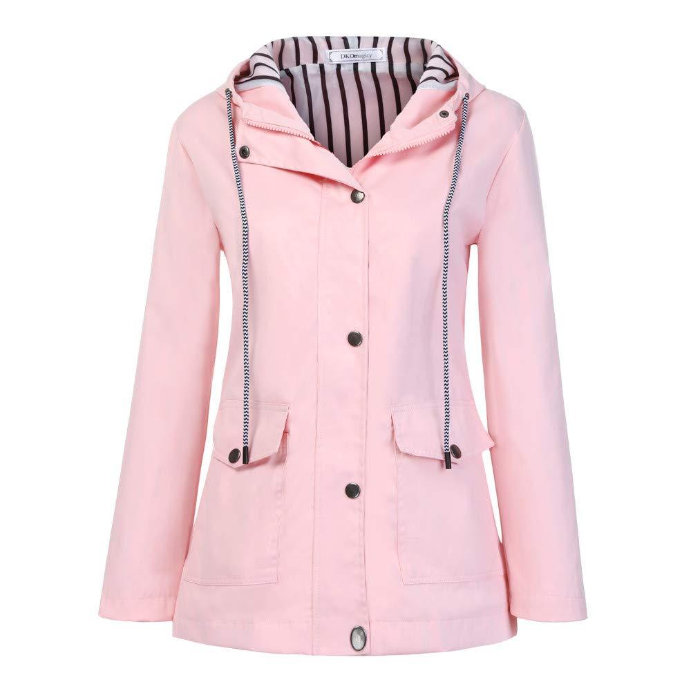 Shusuen Women's Waterproof Raincoat Hooded Rain Jacket Windbreaker Outdoor Trench Coats Pink by Shusuen_Clothes