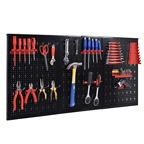 24'' x 48'' Metal Pegboard Panels Garage Tool Board Storage Organizer Holder Black by allgoodsdelight365 (Image #1)