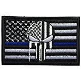 (US) SpaceAuto USA American Flag Skull Military Army Tactical Morale Badge Hook & Loop Decorative Patch 3.15
