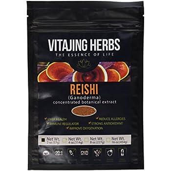 Organic Red Reishi Mushroom Extract Powder (2oz/57gm) 20:1 Concentration (Ganoderma Lucidum, Lingzhi) Pure Wildcrafted, Certified Organic, Vegan, Non-gmo,