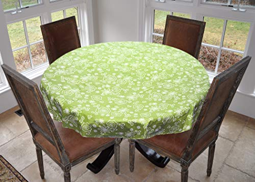 Tonal Lines - Covers For The Home Deluxe Stitched Edged Flannel Backed Vinyl Drop Tablecloth - Tonal Line Work (Green) Pattern - 70