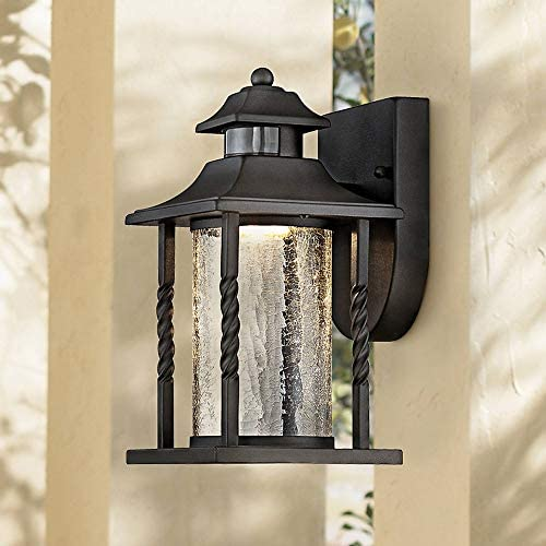 Westray Outdoor Wall Light Fixture LED Black Lantern 11 1 2 Clear Crackled Glass Dusk to Dawn Motion Sensor for Exterior House Porch Patio – John Timberland