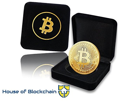 Gold Bitcoin Coin with Luxury Showcase Box: Limited Edition Collectors Set | Physical Gold Coin With Crypto Coin Display Case | Cryptocurrency Coin For Gift Idea, Birthday, Desk, Office For HODL Fans
