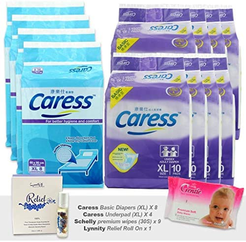 8 x Adult Diaper Premium Basic Size XL Caress + 4 x Super Protection Underpad Size XL + 9 x Gentle Thicker Premium Wipes (30S)FREE Essential Oil Roll-On