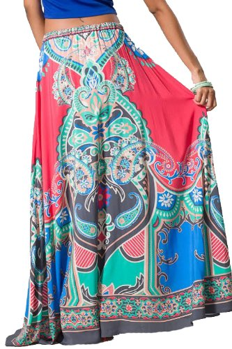 Flying Tomato Women's Tribal Boho Maxi Skirt S Coral