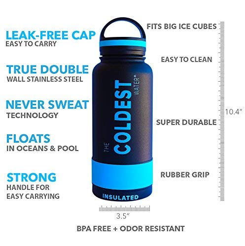 The Coldest Water Bottle 32 oz Wide Mouth Insulated Stainless Steel Hydro Thermos - Cold up to 36 Hrs/Hot 13 Hrs Double Walled Flask with Strong Cap by The Coldest Water (Image #1)
