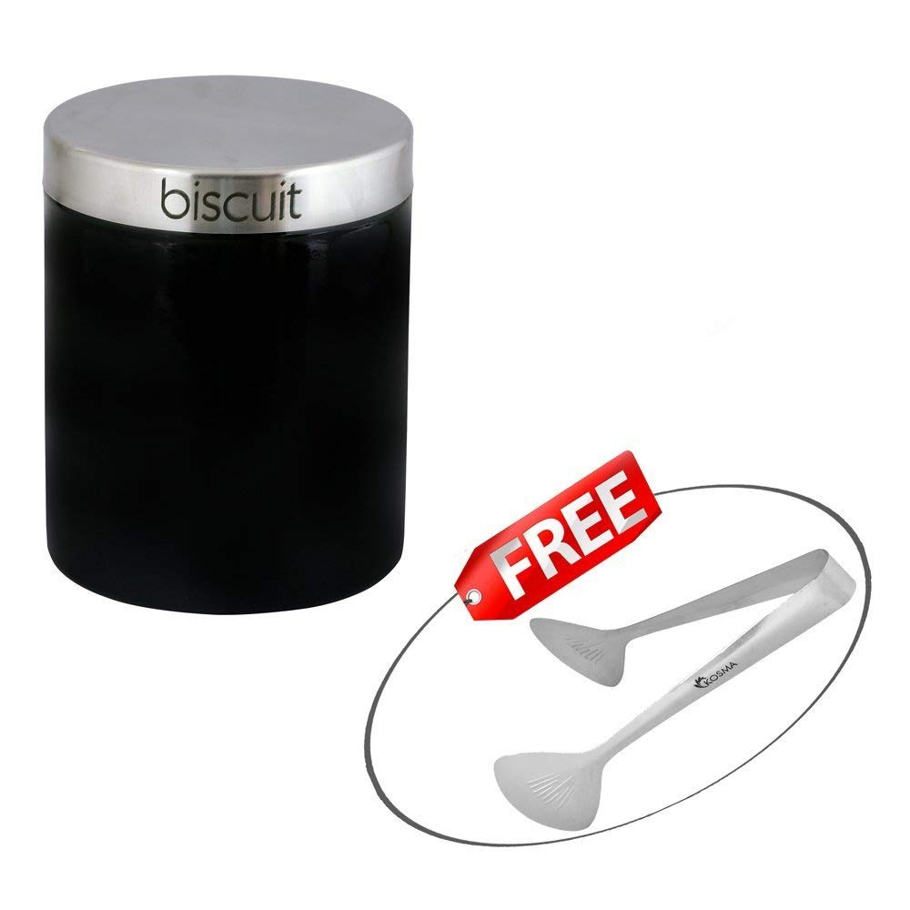 Size: 17 x 14 cm Kosma Stainless Steel Biscuit Bin Biscuit Canister Kitchen Storage Jar in Vibrant Black Colour with FREE Serving Tong